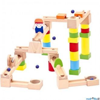Dřevěné hračky - Kuličková dráha - Dřevěná Combino, 40 dílů (Bino)