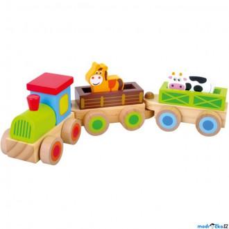 Dřevěné hračky - Vlak dřevěný - Vláček se zvířátky (Bino)