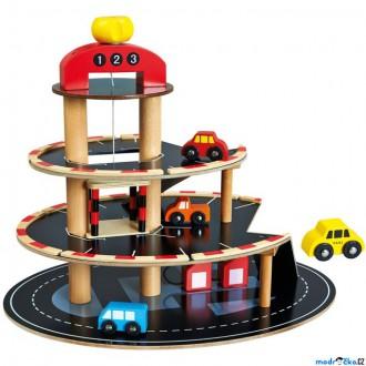 Dřevěné hračky - Garáž dřevěná - Parkoviště oblé s výtahem (Bino)
