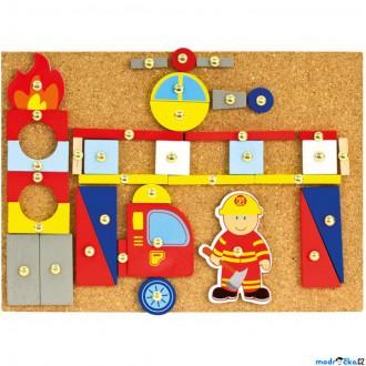 Dřevěné hračky - Hra s kladívkem - Deska s přibíjecími tvary, Hasiči (Bino)