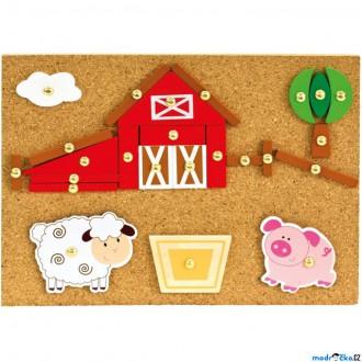 Dřevěné hračky - Hra s kladívkem - Deska s přibíjecími tvary, Farma (Bino)