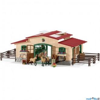 Ostatní hračky - Schleich - Jezdecký klub, Stáj velká s koňmi a vybavením