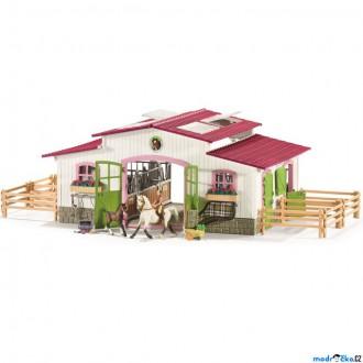 Ostatní hračky - Schleich - Jezdecký klub, Stáj velká s koňmi a vybavením, Pastelová