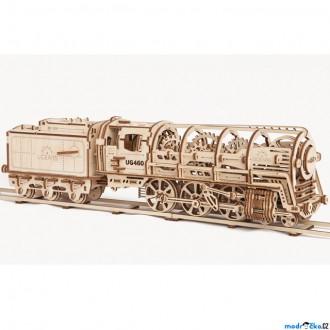 Puzzle a hlavolamy - 3D mechanický model - Parní lokomotiva s tendrem (Ugears)