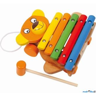Dřevěné hračky - Hudba - Xylofon, Medvěd tahací na kolečkách (Legler)