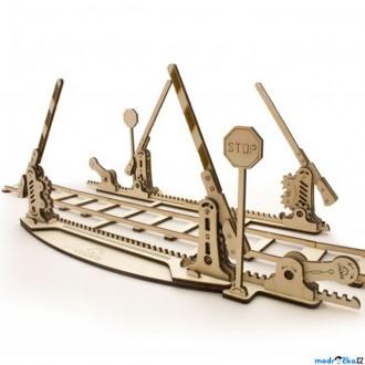 Puzzle a hlavolamy - 3D mechanický model - Železniční přejezd s kolejemi (Ugears)
