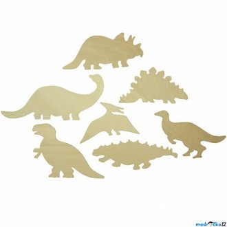Dřevěné hračky - Kreslení - Šablony, Dinosauři, 7ks (Bigjigs)