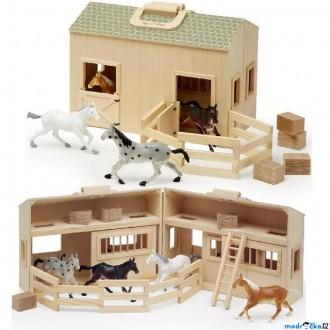 Dřevěné hračky - Stáj dřevěná - Stáje v kufříku s koníky (M&D)