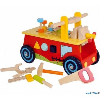 Dřevěné hračky - Odrážedlo - Motorický vozík s pracovním stolem (Legler)
