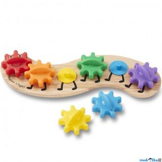 Dřevěné hračky - Skládačka - Ozubená kola, Housenka (M&D)