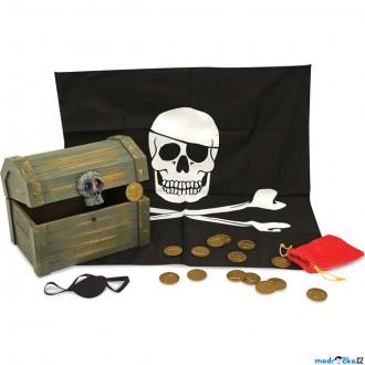 Dřevěné hračky - Pirát - Dřevěná pirátská truhla (M&D)