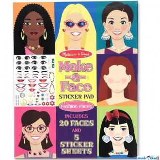 Dřevěné hračky - Samolepky - Vytvoř obličej, Dívky, 250ks (M&D)