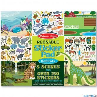 Dřevěné hračky - Samolepky - Opakovaně použitelné, Příroda, 150ks (M&D)