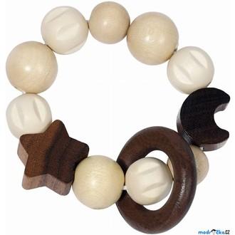 Pro nejmenší - Chrastítko - Kroužek korálkový, Přírodní měsíc a hvězda (Heimess)
