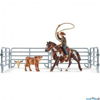 Ostatní hračky - Schleich - Farma, Kovboj s lasem na koni a příslušenstvím