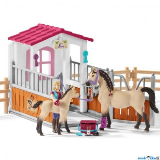 Ostatní hračky - Schleich - Jezdecký klub, Stáj s koňmi Arabskými a ošetřovatelkou