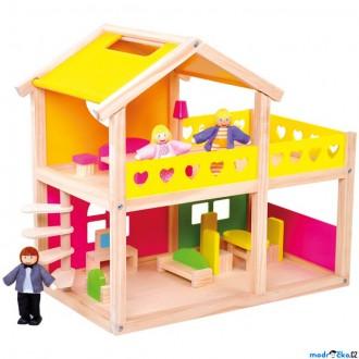 Dřevěné hračky - Domeček pro panenky - S vybavením (Bino)