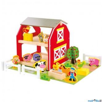 Dřevěné hračky - Farma - Dřevěná se zvířátky a podložkou (Bino)