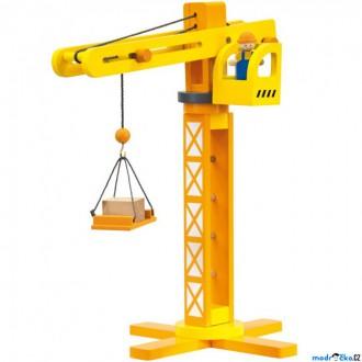 Dřevěné hračky - Jeřáb - Dřevěný s příslušenstvím, 14ks (Bino)