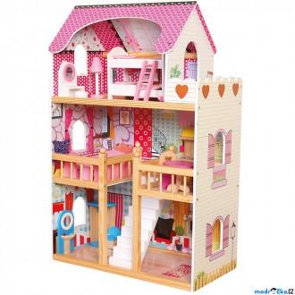 Dřevěné hračky - Domeček pro panenky - Velký s nábytkem typ Barbie (Bino)