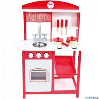 Dřevěné hračky - Kuchyň - Dětská kuchyňka dřevěná červená (Bino)