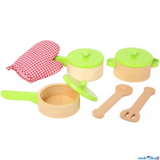 Dřevěné hračky - Kuchyň - Sada dřevěného nádobí s chňapkou (Legler)