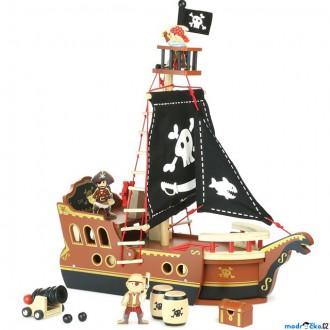 Dřevěné hračky - Loď dřevěná - Pirátská loď s figurkami (Vilac)