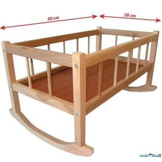 Dřevěné hračky - Kolébka pro panenky - Přírodní dřevěná 50x28cm