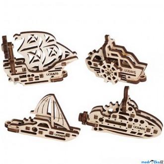 Puzzle a hlavolamy - 3D mechanický model - U-Fidget, Lodě 4ks (Ugears)