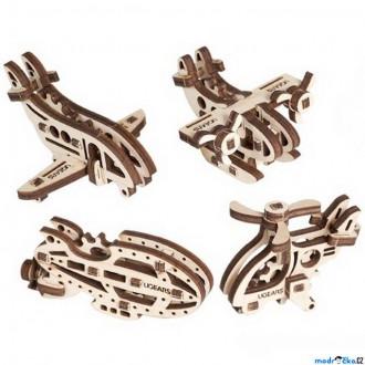 Puzzle a hlavolamy - 3D mechanický model - U-Fidget, Letadla 4ks (Ugears)