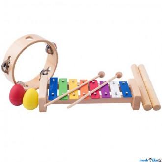 Dřevěné hračky - Hudba - Muzikální set, 4 nástroje, Se dřívky (Woody)