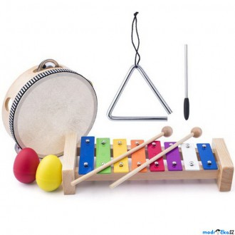 Dřevěné hračky - Hudba - Muzikální set, 4 nástroje, S trianglem (Woody)
