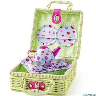 Dřevěné hračky - Kuchyň - Čajový set v kufříku, Zelený (Woody)