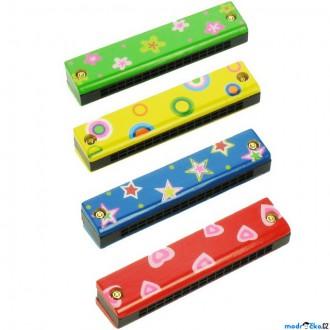 Dřevěné hračky - Hudba - Foukací harmonika, dřevěná, 1ks (Woody)