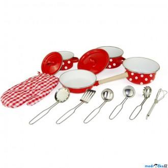 Dřevěné hračky - Kuchyň - Červené kuchyňské nádobí s chňapkou, 13 dílů (Woody)