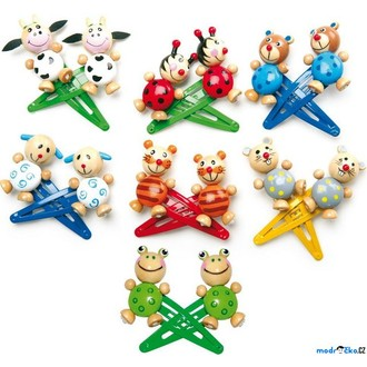 Dřevěné hračky - Dřevěná bižuterie - Sponky vlasové, Zvířátka, 14ks (Legler)