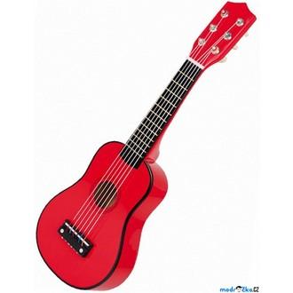 Dřevěné hračky - Hudba - Kytara, Červená, 6 strun (Legler)