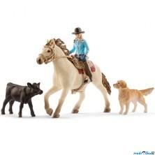 Schleich - Kůň s jezdcem, Westernová jezdkyně se zvířátky