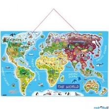 Puzzle magnetické - Mapa světa Orbis pictus, 91 dílků (Woody)