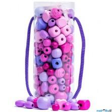 Navlékací perle - Mix korálků v tubě, růžová (Woody)