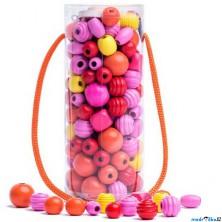 Navlékací perle - Mix korálků v tubě, oranžová (Woody)