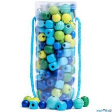 Navlékací perle - Mix korálků v tubě, tyrkys (Woody)