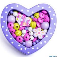 Navlékací perle - Set korálků, Srdce malé fialové (Woody)