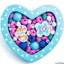Navlékací perle - Set korálků, Srdce malé tyrkysové (Woody)