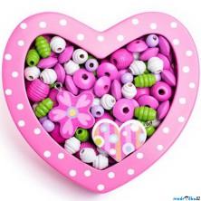 Navlékací perle - Set korálků, Srdce malé růžové (Woody)
