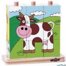 Kostky obrázkové na tyči 9ks - Domácí zvířata (Woody)