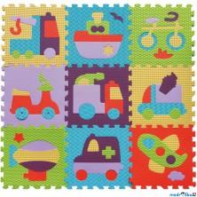 Puzzle pěnové - 30x30cm, 9ks, Dopravní prostředky