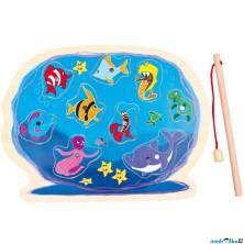 Magnetický rybolov - Puzzle akvárium s prutem (Bino)
