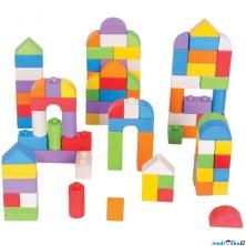 Kostky - Dřevěné spojkostky, Set barevný, 100ks (Bigjigs)