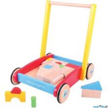 Kostky - Barevné ve vozíku, Chodítko, 25ks (Bigjigs)